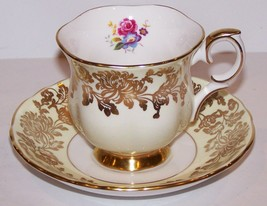 STUNNING CROWN STAFFORDSHIRE ENGLAND FINE BONE CHINA YELLOW & GOLD CUP &... - $19.34