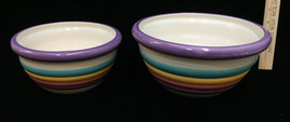 "Mixing Serving Bowls Nesting Colorful Ribbed Ceramic 9"" & 7"" Set 2 Speci... - $28.70"