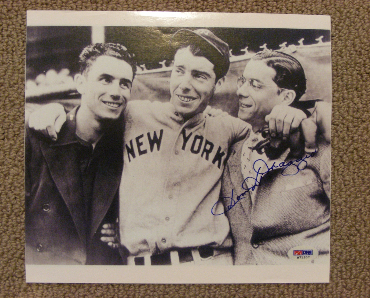 Primary image for DOM DIMAGGIO LITTLE PROFESSOR WITH BROTHERS JOE & VINCE AUTO SIGNED 8X10 PSA/DNA