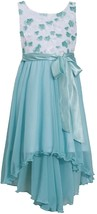 Bonnie Jean Little Girl 2T-6X Aqua Diecut Floral Chiffon High Low Dresss