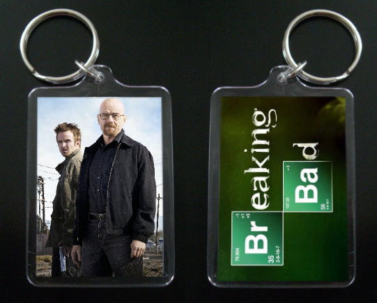 Primary image for BREAKING BAD keychain / keyring Aaron Paul Bryan Cranston JESSE & WALTER WHITE 3