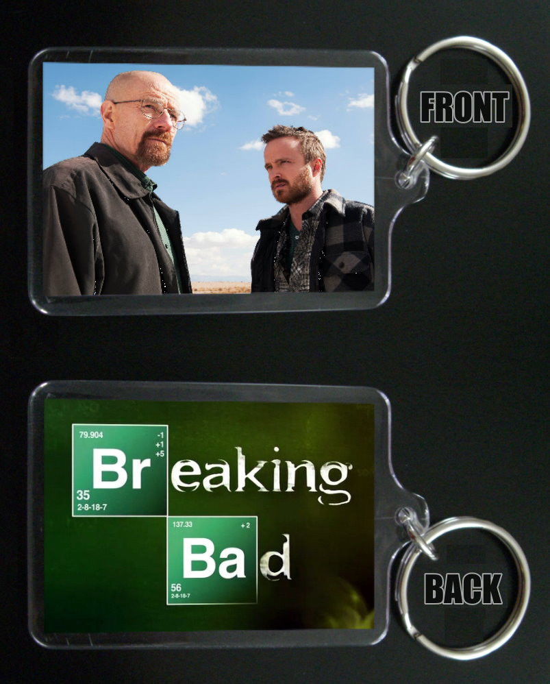Primary image for BREAKING BAD keychain / keyring Aaron Paul Bryan Cranston JESSE & WALTER WHITE 5