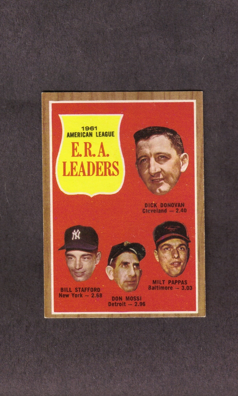 1962 Topps # 55 American League ERA Leaders