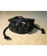 BRACELET PUNK MEN WOMEN BLACK LEATHER BRAID UNISEX #41 - $9.99