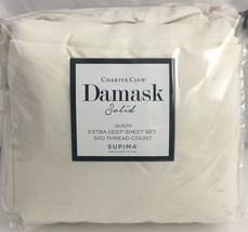 Charter Club Damask Solid Queen Extra Deep Sheet Set 550 TC Ivory $215 - $89.05