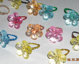 flower power wire wrapped rings (you pick the color) - $5.50