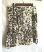 David N  Brown Animal Print Skirt  Size 12 A Line Linen Blend Flare Godet - $17.57