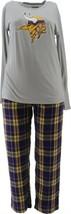 NFL Men's Pajama Set Long Slv Top Flannel Pants Vikings L NEW A387683 - $30.67