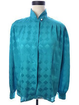 Womens Vintage Laura and Jayne Turquoise Blue Blouse Size 12 XL - $15.00