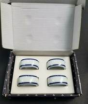Dansk Bistro Cook & Serve Napkin Rings Set Christianshavn Blue - $14.24