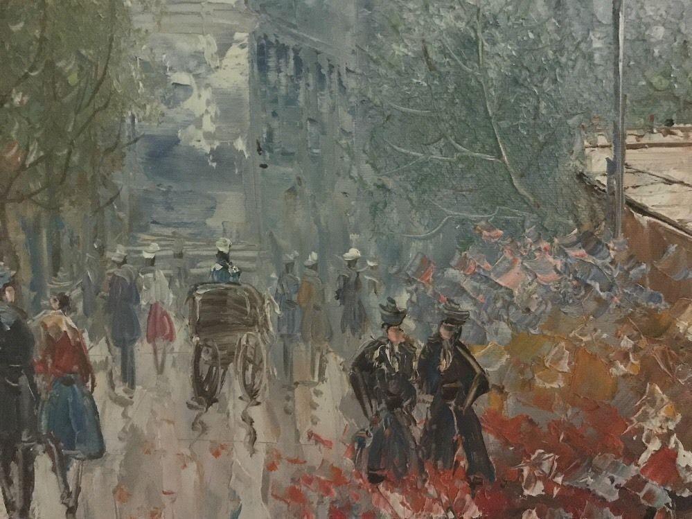 """Paris Scene"" Oil On Canvas by Burney- Framed Signed"