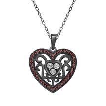 0.34 Cttw Red Garnet & Simulated Diamond Full Black Rhodium FN Heart Pen... - $75.99