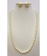 """Necklace & Earring Faux Pearl Ivory Color 1928 Brand 24.5"""" Long Pierced ... - $12.86"""