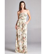 Sexy Maxi Boho Ivory Floral Strapless Dress, Vanilla Bay, S, M or L - $44.99