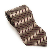 """Facets All 100% Silk Men`s Necktie Tie Olive Green Red Abstract 3 1/2"""" H... - $17.82"""