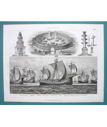 NAVY Roman War Games 11th C English Flotilla - 1870s Superb Print - $33.66