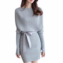 Slim Knitted Batwing Sleeve Women Bodycon Dress - $30.50