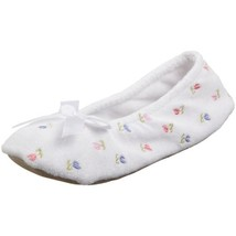 ISOTONER Women's Embroidered Terry Ballerina Slipper, White, Small - $18.25