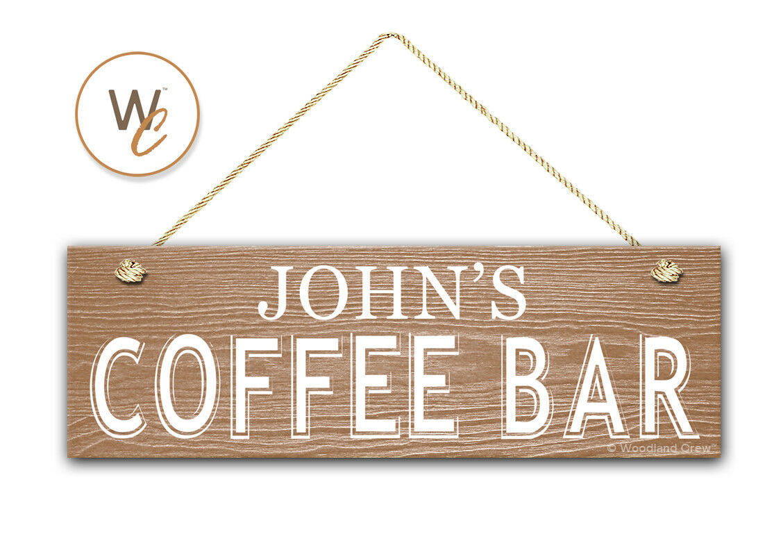 """COFFEE BAR Sign, Custom Name On 5.5"""" x 17"""" Wood Sign, Personalized Gift"""