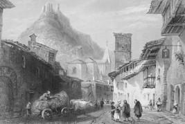 ITALY Piedmont St. Ambrogio near Susa - BARTLETT Antique Print - $13.39