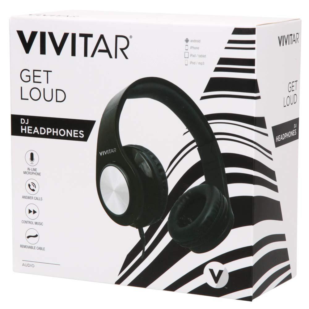 Vivitar Get Loud DJ Wired Headphones Black V50024 BLK WM