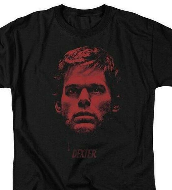 Dexter T-shirt Bloody Face graphic TV show printed cotton tee SHO359 Black