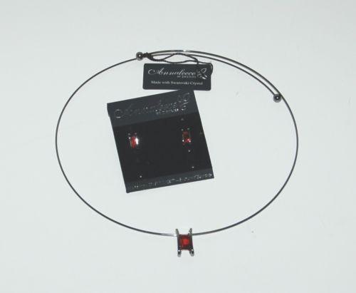 Annaleece by Deveries Pendant Choker Matching Earring Set Black Ruby Colors