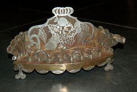 Judaica Oil Menorah Hanukkah Vintage Israel Silver Copper 7 Seven Species 1960's image 2