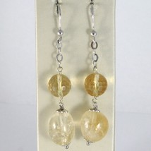 925 STERLING SILVER PENDANT EARRINGS WITH FACETED AND OVAL YELLOW CITRINE image 1