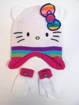 Hello Kitty by Sanrio White Knit Winter Hat & Mitten Set Toddler One Siz... - $22.27