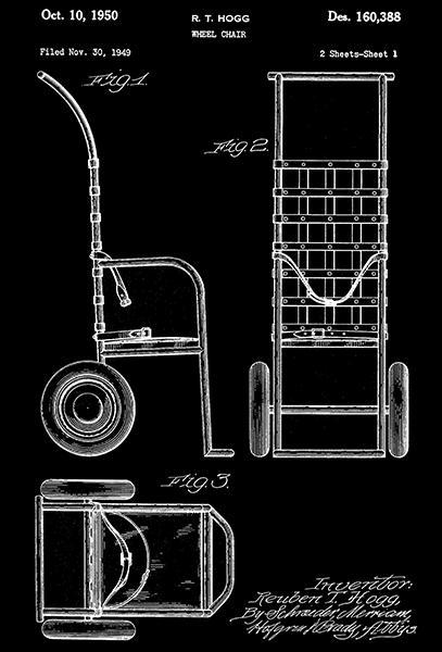 Primary image for 1950 - Wheel Chair - R. T. Hogg - Patent Art Poster