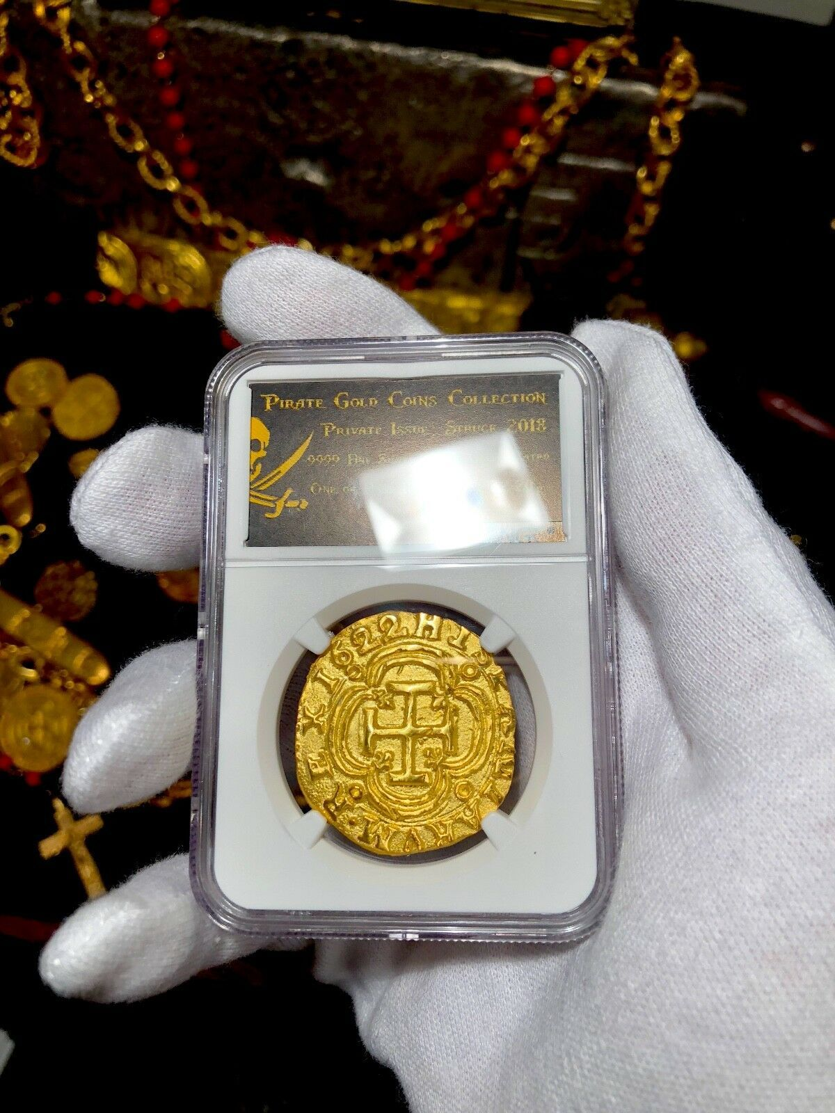 COLOMBIA 1622 REPO 8 ESCUDOS NGC GOLD PLATED ATOCHA PIRATE TREASURE COIN JEWELRY
