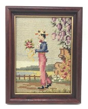 "Vintage Framed Petit Point Needlepoint Romantic Victorian Gentleman 9"" x 7"" - $44.99"