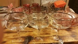 Set of 6 DOROTHY THORPE Style Silver Band Stem Glass Wine Iced Tea Champ... - $18.46