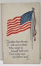 Patriotic 48 Star Flag, Breathes There The Man, Sir Walter Scott Postcar... - $7.95