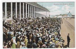 Brockton Fair Grand Stand Crowd Horse Racing Massachusetts 1910c postcard - $7.92