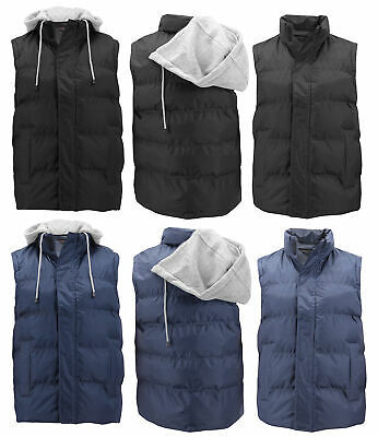 Men's Puffer Packable Quilted Lightweight Warm Zipper Vest With Removable Hood