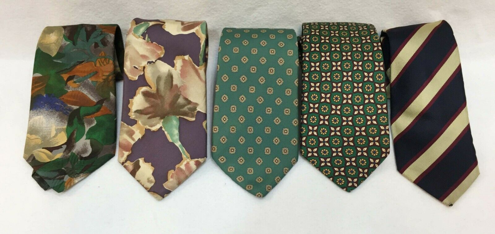 Primary image for Neck Ties Lands End Mens 100% Silk Stripe Floral Geometric Vintage Lot of 5