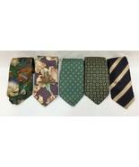 Neck Ties Lands End Mens 100% Silk Stripe Floral Geometric Vintage Lot of 5 - $12.86