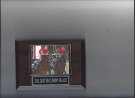 Real Quiet Beats Indian Charlie Plaque Horse Racing Turf - $3.95