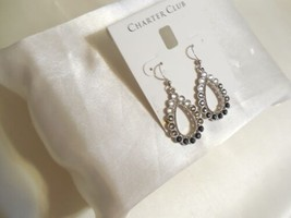 "Charter Club 1-3/4"" Silver-Tone Stone Teardrop Ombre Drop Earrings R739 $34 - $11.51"
