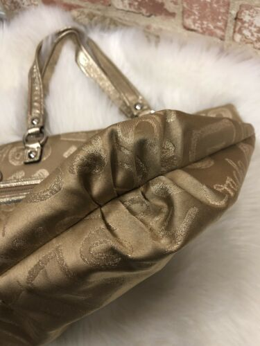 AUTHENTIC COACH POPPY LUREX GOLD SIGNATURE HEART METALLIC GLAM TOTE LARGE BAG
