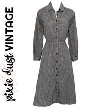 Vintage Dress Shirtdress Check Shirt Midi Checked Full Mididress Size Me... - $53.49