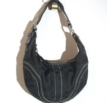 COACH Black Logo Print Fabric w/ Leather Trim Zip Close Small Hand Bag P... - ₹2,467.46 INR