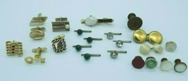 Vintage Mens Accessories Mixed Lot 22 Single Cufflinks Button Stays Stud... - $19.79