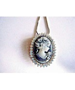 """Black Gray Cameo Pendant With Austrian Crystals On 18"""" Silver Chain New ... - $19.75"""