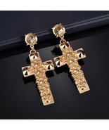 2018 New Fashon Exaggerated Rhinestone Cross Earrings Gold Color Big Ear... - $12.90