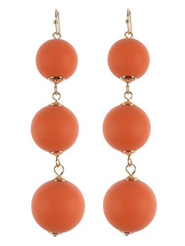 Trendy 3 Ball Wooden Balls Dangle Earrings (Orange)