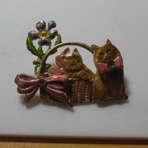 KC Signed Enamel Kitten in a Basket Flower Bows Pink Rhinestones - $15.99
