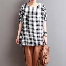 Plus Size ZANZEA Summer Vintage Women O Neck Short Sleeve Loose Check Plaid Bagg - $25.86+